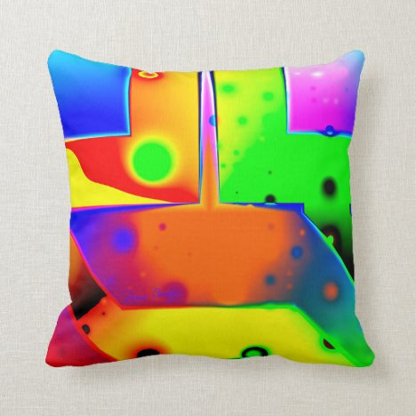 Rainbow Step, Abstract Fractal Door into Fantasy Throw Pillow