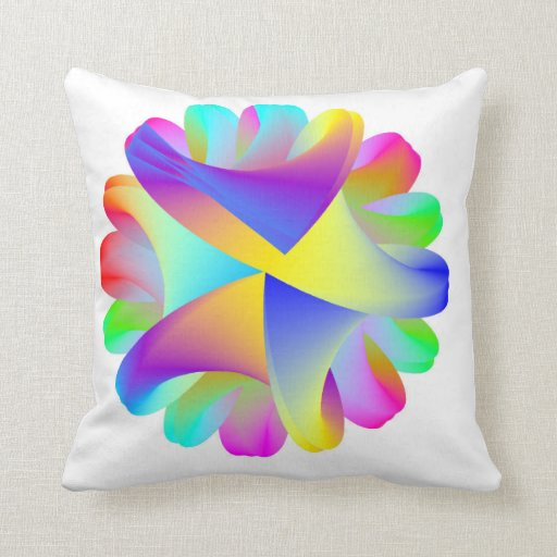 Rainbow Swirly Squiggles Throw Pillow