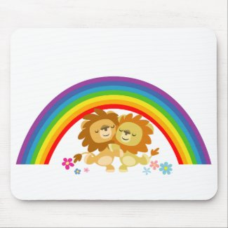 Rainbow Tango-Cute Cartoon Lions Mousepad mousepad