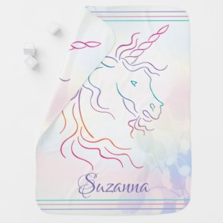 Rainbow Tribal Unicorn Art Design Add Name Baby Blanket