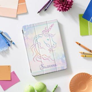 Rainbow Tribal Unicorn Art Design Add Name iPad Pro Cover