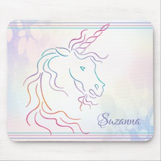 Rainbow Tribal Unicorn Art Design Add Name Mouse Pad