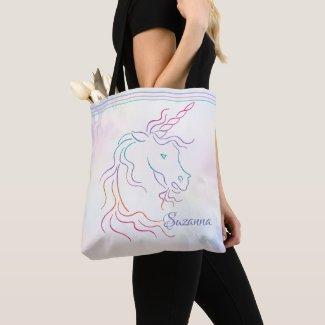 Rainbow Tribal Unicorn Art Design Add Name Tote Bag
