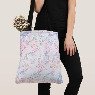 Rainbow Tribal Unicorn Art Design Pattern Tote Bag