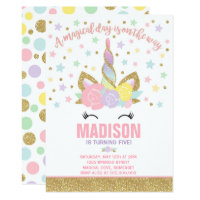 Rainbow Unicorn Birthday Invitation Pink Gold