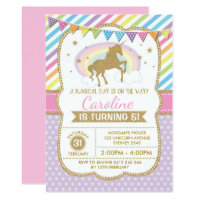 Rainbow Unicorn Invitation Birthday Party Invite