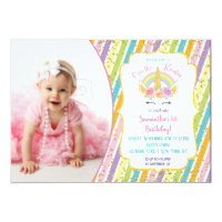 Rainbow Unicorn Photo Birthday Invitations