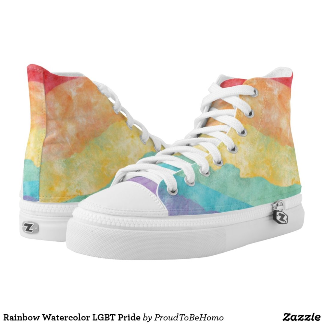 Rainbow Watercolor LGBT Pride High-Top Sneakers