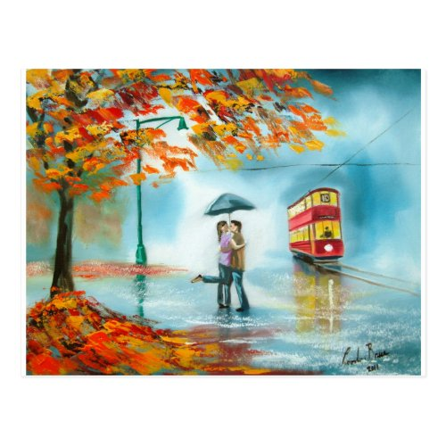 Rainy day autumn red tram umbrella romantic couple postcard