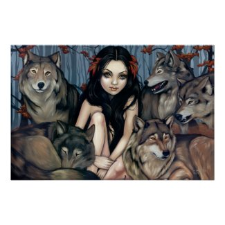 Raised by Wolves fantasy wolf dog Art Print