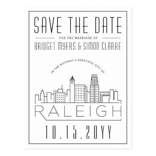 Raleigh Wedding   Stylized Skyline Save the Date Postcard