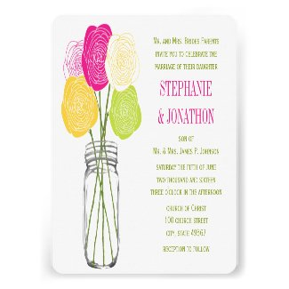 Ranunculus Rose Lime Fuchsia Yellow Mason Jar Custom Invitations