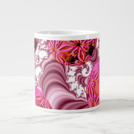 Raspberry Pink Vision, Abstract Snow Flakes Large Coffee Mug