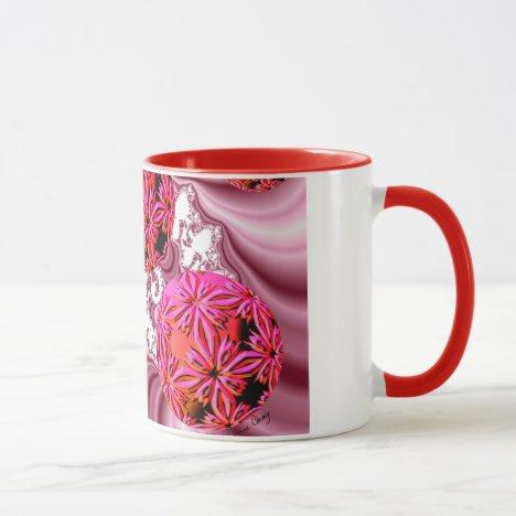 Raspberry Pink Vision, Abstract Snow Flakes Mug