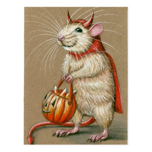 Rat Devil Halloween Postcard