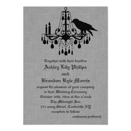 Raven and Spider Damask Gray Linen Wedding Invite