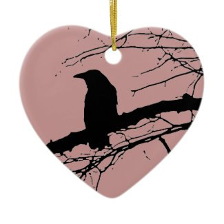 Raven Cracked Heart Ornaments