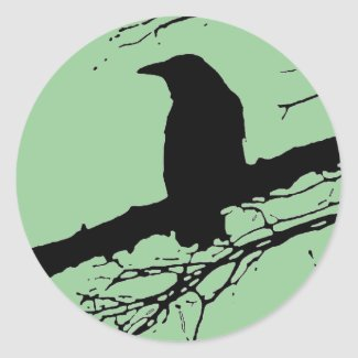 Raven on the Tree Round Stickers