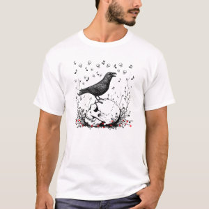 Raven Sings Song of Death on Skull Illustration T-Shirt