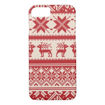 Red and Beige Ugly Christmas Sweater patterns iPhone 8/7 Case