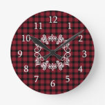 Red And Black Plaid   Farmhouse  Style Round Clock