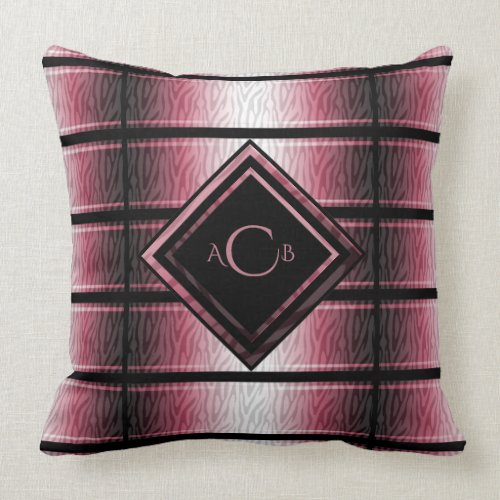 Red and Black Zebra Monogram Throw Pillow