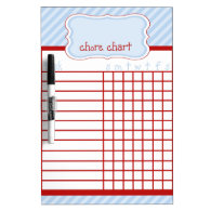 Red and Blue Stripe Chore Chart Dry-Erase Whiteboards