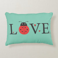 Red and Green 'Love' Ladybugs Accent Pillow