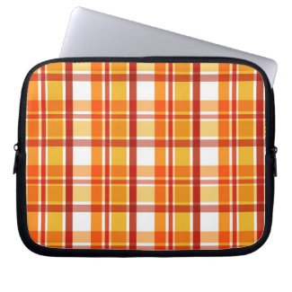 Red and orange plaid pattern computer sleeves