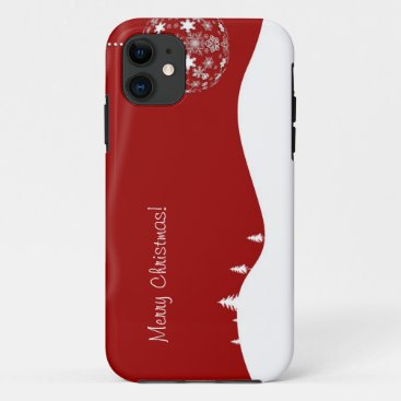 Red and White Christmas Abstract Silhouette iPhone 11 Case
