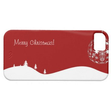 Red and White Christmas Abstract Silhouette iPhone SE/5/5s Case