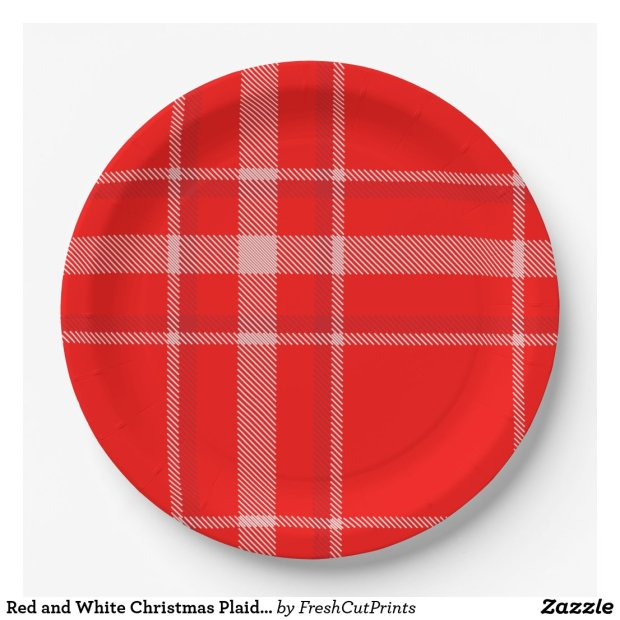 Red and White Christmas Plaid Festive Paper Plate