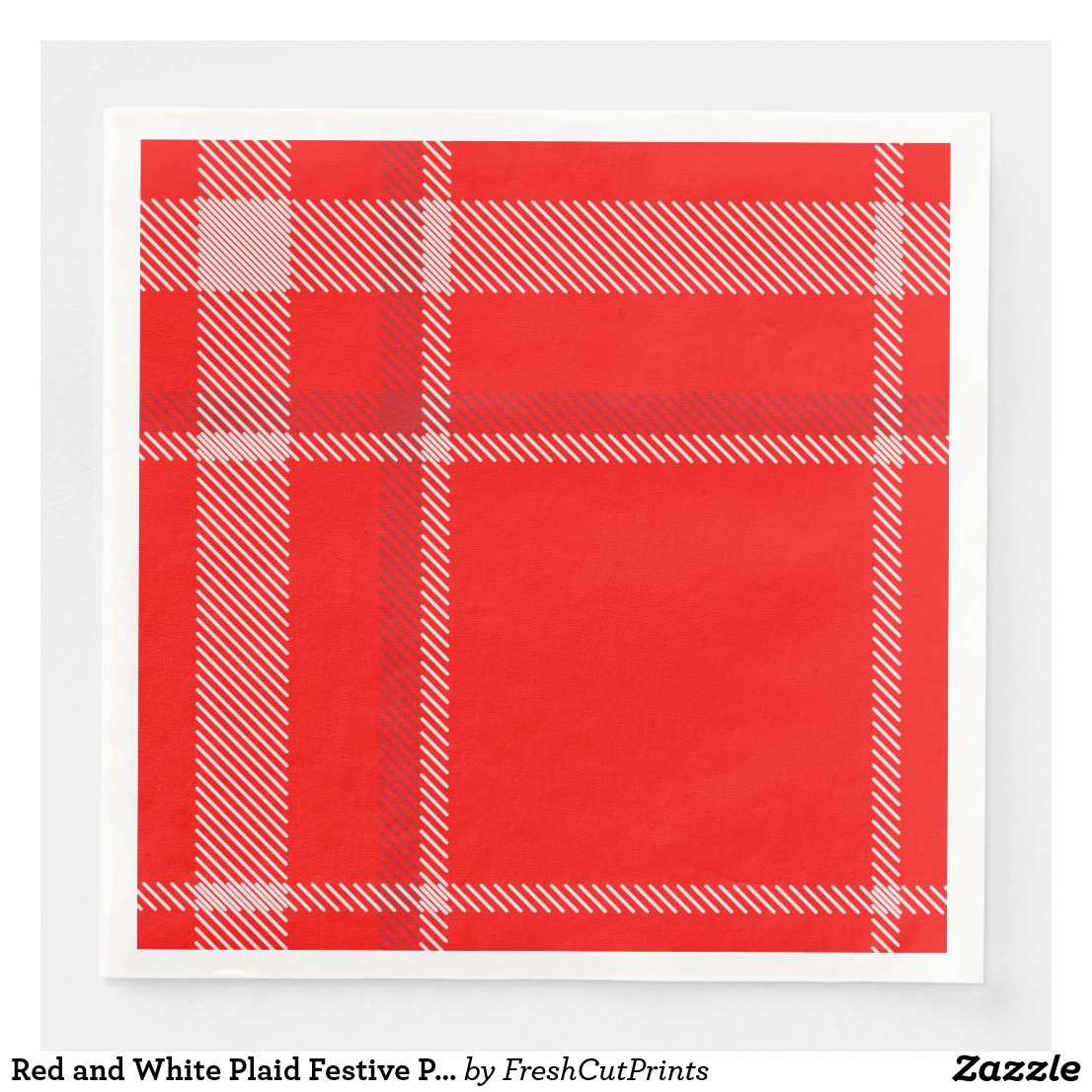 Red and White Plaid Festive Place Setting Paper Dinner Napkin