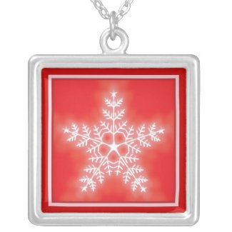 Red and White Star Snowflake necklace