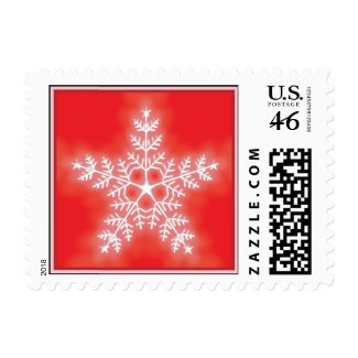 Red and White Star Snowflake stamp