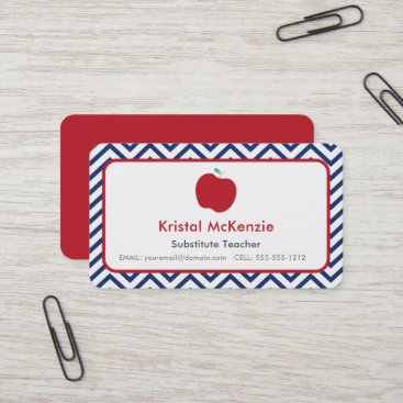 Red Apple & Navy Chevron Teacher Business Cards