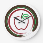 Red Apple with Green and Brown - Round Clock