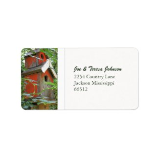 Red Birdhouse Address Labels