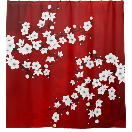 red black and white cherry blossom shower curtain zazzle com