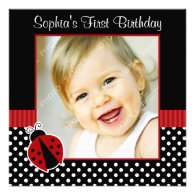 Red Black Ladybug Polka Dot 1st Birthday Photo Invitation