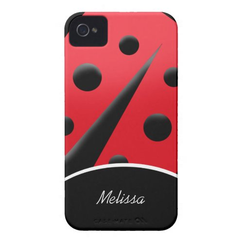 Red/Black Modern Ladybug iPhone 4/4S Case