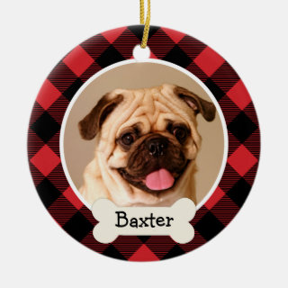 Red Buffalo Plaid Puppy Dog Photo Ceramic Ornament