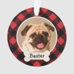 Red Buffalo Plaid Puppy Dog Photo Ornament