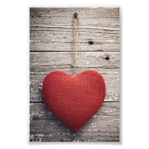 Red Burlap Heart Photo Print