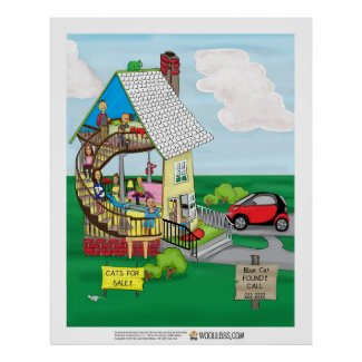"16 x 20 Red Cat ""One Walled House"" poster"
