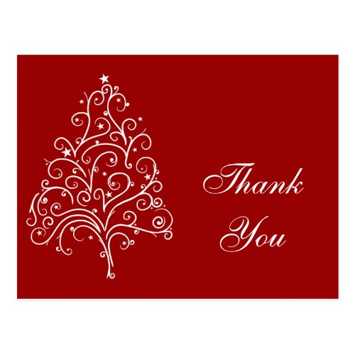 Red Christmas Tree Winter Holiday Thank You Postcard
