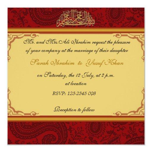 Red Damask Muslim Wedding Card Zazzle