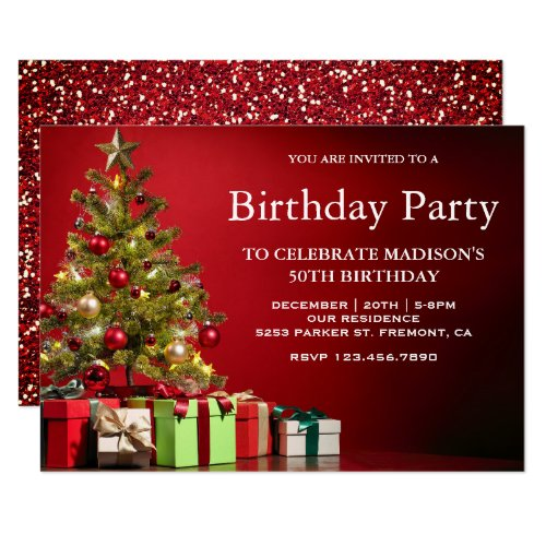 Red Festive Holiday Christmas Tree Birthday Party Invitation