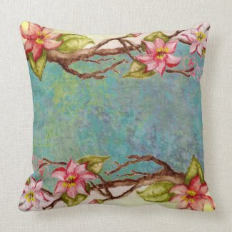 red flowers, spring tree branch, tie dye abstract mojo_throwpillow