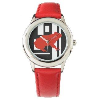 Red Frog Pattern Art Unisex Watch